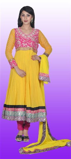 411322, Anarkali Suits, Georgette, Moti, Zari, Kasab, Kundan, Yellow Color Family