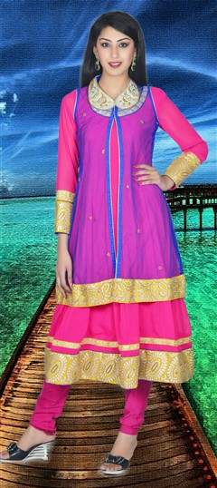 411333, Party Wear Salwar Kameez, Georgette, Brocade, Zari, Kasab, Pink and Majenta Color Family