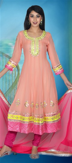 411335, Party Wear Salwar Kameez, Georgette, Zari, Kasab, Gota Patti, Pink and Majenta Color Family