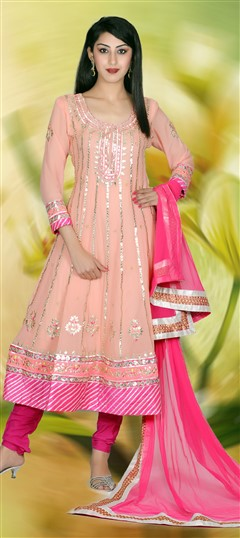 411336, Party Wear Salwar Kameez, Georgette, Gota Patti, Sequence, Zari, Kasab, Pink and Majenta Color Family