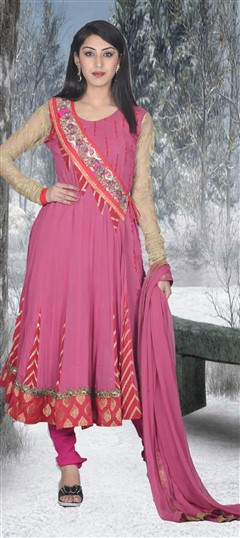 411340, Anarkali Suits, Georgette, Sequence, Cut Dana, Thread, Pink and Majenta Color Family