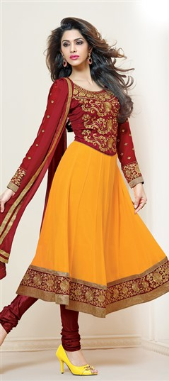 411471 Yellow  color family Party Wear Salwar Kameez in Faux Georgette fabric with Border,Patch,Resham,Zari work .