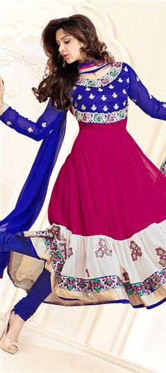 411474 Blue,Pink and Majenta  color family Party Wear Salwar Kameez in Faux Georgette fabric with Border,Patch,Resham,Zari work .