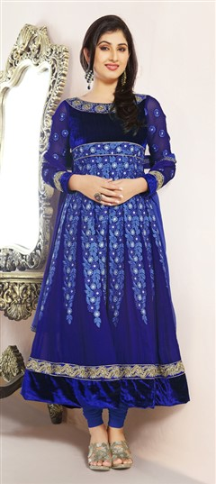 412141, Anarkali Suits, Bollywood Salwar Kameez, Viscose, Valvet, Patch, Lace, Machine Embroidery, Blue Color Family