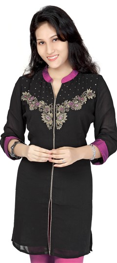 413445, Kurti, Georgette, Zardozi, Sequence, Stone, Black and Grey Color Family