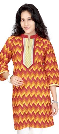 413449, Kurti, Cotton, Patch, Thread, Printed, Orange, Yellow Color Family