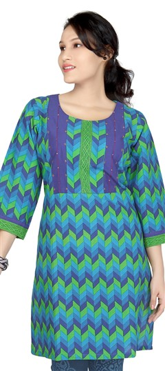 413452, Kurti, Cotton, Thread, Lace, Printed, Sequence, Blue, Green Color Family