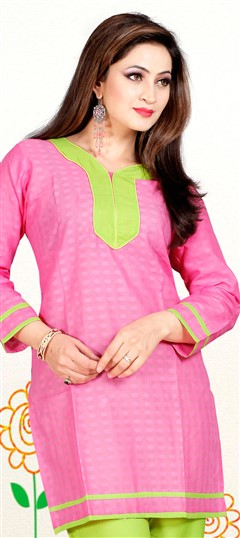 414203, Cotton Kurtis, Cotton, Patch, Thread, Lace, Pink and Majenta Color Family