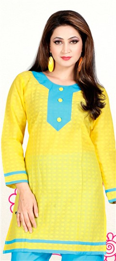 414214, Cotton Kurtis, Cotton, Patch, Thread, Lace, Yellow Color Family