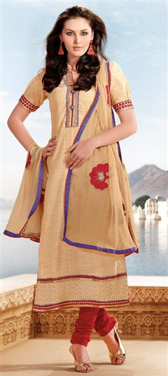 416943 Beige and Brown  color family Cotton Salwar Kameez in Cotton fabric with Border,Lace,Patch,Zari work .