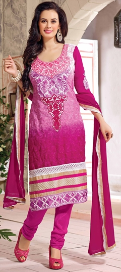 417813 Pink and Majenta  color family Bollywood Salwar Kameez,Party Wear Salwar Kameez in Faux Georgette fabric with Border,Lace,Machine Embroidery,Resham,Thread,Zari work .