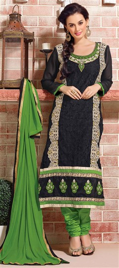 417814 Black and Grey  color family Bollywood Salwar Kameez,Party Wear Salwar Kameez in Faux Georgette fabric with Border,Lace,Machine Embroidery,Resham,Thread,Zari work .