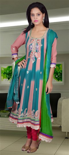 417907, Anarkali Suits, Georgette, Gota Patti, Blue, Pink and Majenta Color Family