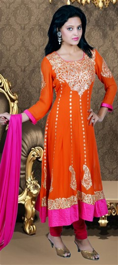 417914, Anarkali Suits, Georgette, Zari, Kasab, Orange Color Family