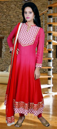 417916, Anarkali Suits, Georgette, Zari, Kasab, Red and Maroon Color Family
