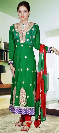 417926, Anarkali Suits, Faux Georgette, Thread, Lace, Swarovski, Gota Patti, Green Color Family