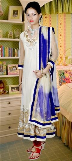 417927, Anarkali Suits, Net, Gota Patti, Moti, Thread, Lace, Swarovski, White and Off White Color Family