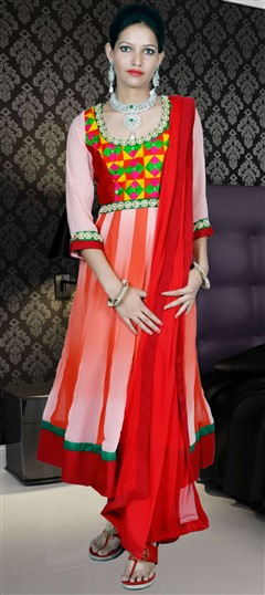 417935, Anarkali Suits, Faux Georgette, Moti, Zari, Thread, Orange, White and Off White Color Family