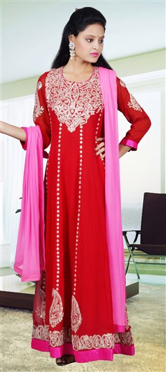417992, Party Wear Salwar Kameez, Georgette, Zari, Kasab, Red and Maroon Color Family
