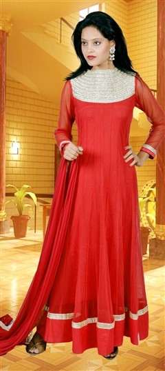 418004, Anarkali Suits, Net, Zari, Thread, Sequence, Red and Maroon Color Family