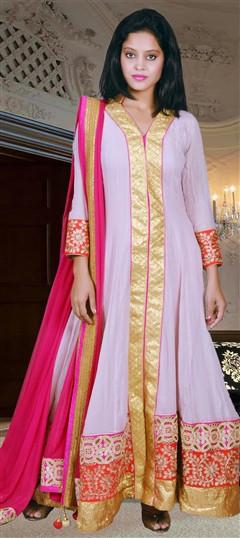 418005, Anarkali Suits, Georgette, Zari, Kasab, Gota Patti, Pink and Majenta Color Family