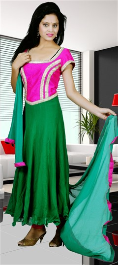 418007 Green,Pink and Majenta  color family Anarkali Suits in Art Dupion Silk,Georgette fabric with Gota Patti,Zari work .