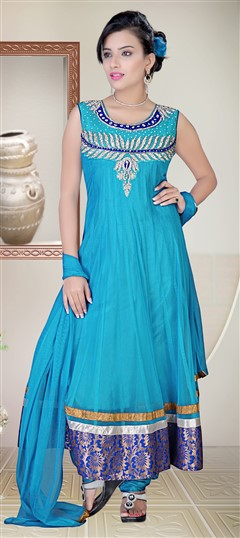 418015 Blue  color family Anarkali Suits in Net fabric with Lace,Machine Embroidery,Patch,Sequence,Stone,Zari work .