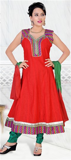 418018 Red and Maroon  color family Anarkali Suits in Art Silk fabric with Border,Lace,Patch,Zari work .