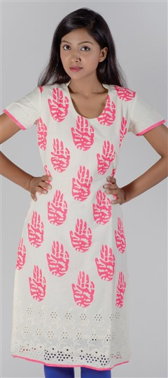 418103, Kurti, Cotton, Lace, Printed, Machine Embroidery, White and Off White Color Family