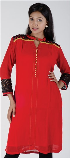 418109, Kurti, Georgette, Patch, Thread, Lace, Machine Embroidery, Red and Maroon Color Family