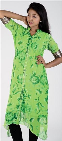 418111, Kurti, Georgette, Zari, Lace, Printed, Green Color Family