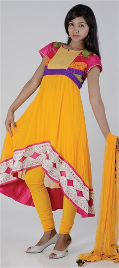 418119, Party Wear Salwar Kameez, Georgette, Patch, Border, Lace, Machine Embroidery, Yellow Color Family