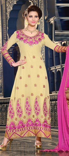 418173 Beige and Brown  color family Bollywood Salwar Kameez in Faux Georgette fabric with Lace,Machine Embroidery,Resham,Stone,Thread,Zari work .