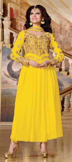 418176, Bollywood Salwar Kameez, Faux Georgette, Zari, Border, Thread, Lace, Machine Embroidery, Resham, Yellow Color Family
