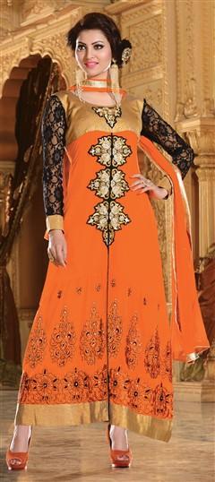 418178, Bollywood Salwar Kameez, Faux Georgette, Stone, Zari, Border, Thread, Lace, Machine Embroidery, Resham, Orange Color Family