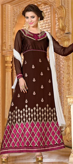 418181, Bollywood Salwar Kameez, Faux Georgette, Stone, Zari, Border, Thread, Lace, Machine Embroidery, Resham, Beige and Brown Color Family