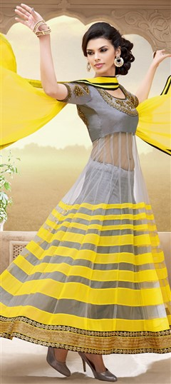 418654, Bollywood Salwar Kameez, Net, Machine Embroidery, Sequence, Patch, Zari, Lace, Black and Grey, Yellow Color Family