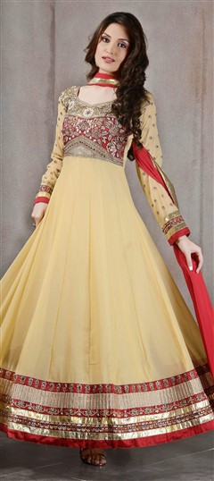 427020 Yellow  color family Anarkali Suits in Faux Georgette fabric with Lace,Machine Embroidery,Resham,Stone work .