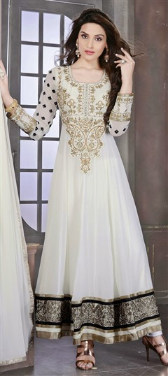 427023 White and Off White  color family Anarkali Suits in Faux Georgette fabric with Lace,Resham,Stone work .