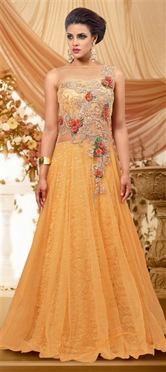 427166 Yellow  color family gown in Net fabric with Machine Embroidery,Patch,Stone work .