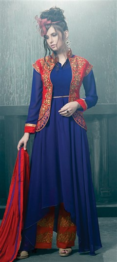431529 Blue  color family Party Wear Salwar Kameez in Georgette fabric with Machine Embroidery,Patch work .