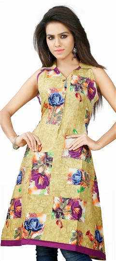 431598 Multicolor  color family Cotton Kurtis, Printed Kurtis in Cotton fabric with Floral, Printed work .