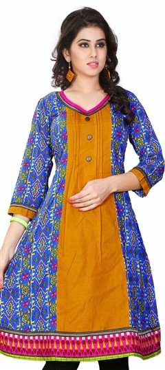 431608 Multicolor  color family Cotton Kurtis, Printed Kurtis in Cotton fabric with Printed work .