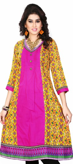 431610 Multicolor  color family Cotton Kurtis, Printed Kurtis in Cotton fabric with Printed work .