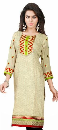 431623, Kurti, Jacquard, Lace, Printed, Beige and Brown Color Family