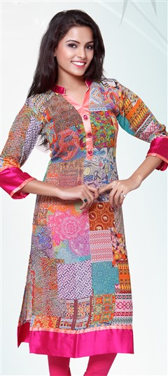 432185 Multicolor  color family Long Kurtis in Georgette fabric with Lace,Printed work .