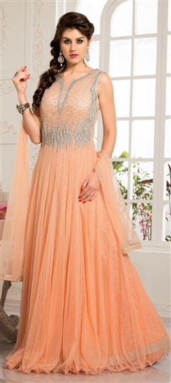 432404, gown, Net, Sequence, Resham, Stone, Patch, Border, Orange Color Family