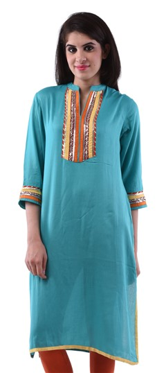 432713 Blue  color family Cotton Kurtis in Cotton fabric with Gota Patti,Lace,Patch work .