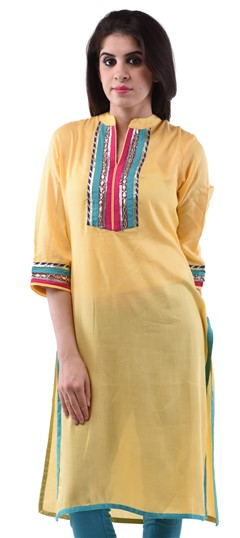 432714 Yellow  color family Cotton Kurtis in Cotton fabric with Gota Patti,Lace,Patch work .