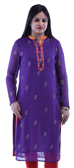 432718 Purple and Violet  color family Cotton Kurtis in Cotton fabric with Lace,Printed,Thread work .